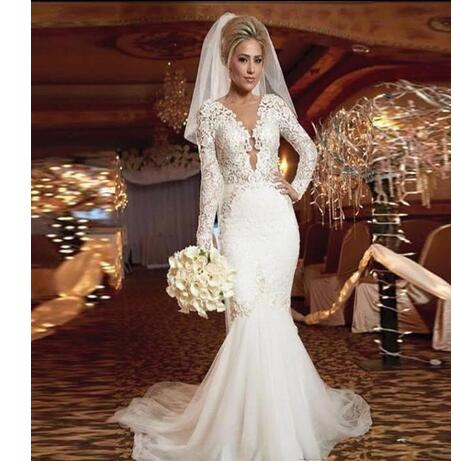 Long Sleeve V-neck Ruffles Mermaid Trumpet Backless Tulle Plus Size Wedding  Dresses 2018