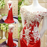 TW11 Off Shoulder Sexy Red Prom Dress,Sequin Beading Prom Dress,Mermaid Prom Dress
