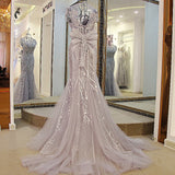 TW12 Sexy Beading Mermaid Prom Dress,Mermaid Prom Dress,Gray Prom Dress