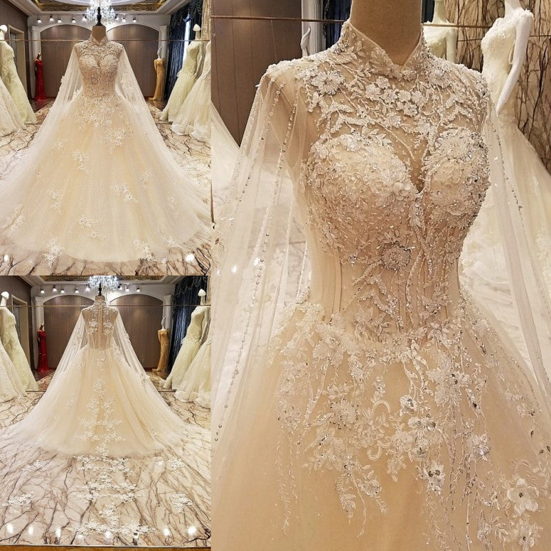 TW4 High Neck Ball Gown Lace Wedding Dress,Vintage Bride