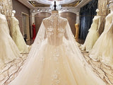 TW4 High Neck Ball Gown Lace Wedding Dress,Vintage Bride Dress,Luxury Dress Wedding