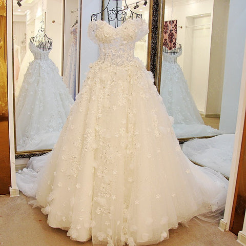 TW1 Off Shoulder Heavy Handmade Flower Lace Wedding Dress,Wedding Dress with Long Train
