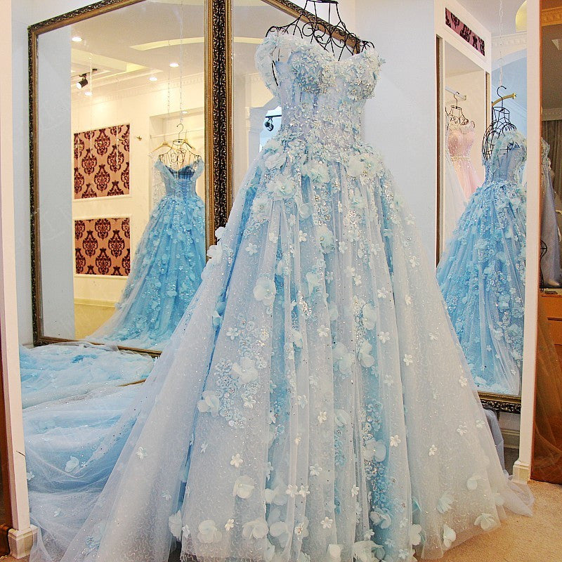 6a4e046bd7 TW2 Off Shoulder Heavy Handmade Blue Flower Lace Wedding Dress,Blue Prom  Dress