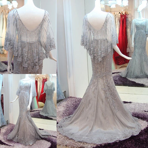 TW14 Sexy Beading Mermaid Prom Dress,Mermaid Prom Dress,Gray Prom Dress