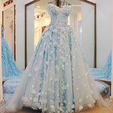 TW2 Off Shoulder Heavy Handmade Blue Flower Lace Wedding Dress,Blue Prom Dress