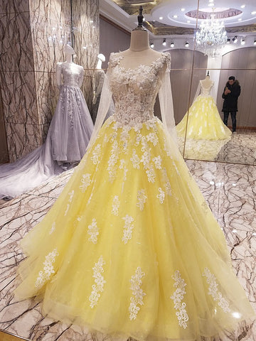 TW13 New Arrival A Line Long Sleeve Yellow Prom Dress With FlowersProm