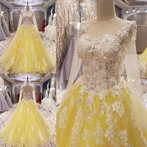 TW13 New Arrival A Line Long Sleeve Yellow Prom Dress with Flowers,Prom Dress with Sleeves