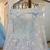 TW6 Off Shoulder Heavy Handmade Blue Flower Lace Wedding Dress,Blue Prom Dress