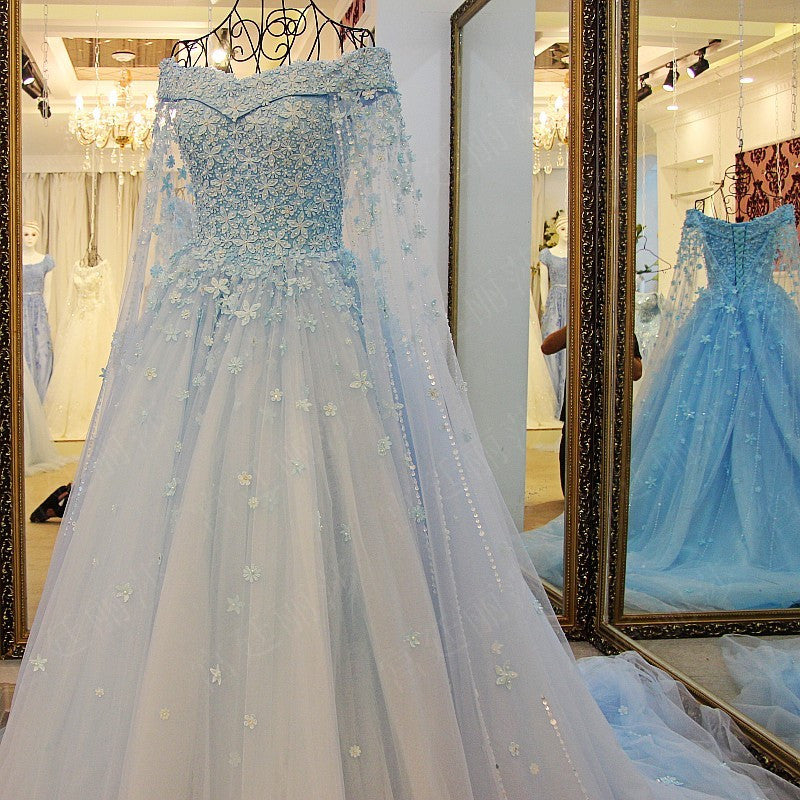 daa832f4e1 TW6 Off Shoulder Heavy Handmade Blue Flower Lace Wedding Dress,Blue Prom  Dress