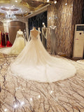TW8 Heavy Handmade Off Shoulder White Ball Gown Lace Wedding Dress