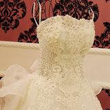 TW5 Heavy Handmade Off Shoulder White Ball Gown Lace Wedding Dress