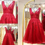 Short Tulle A Line Red Lace Prom Gown,Elegant Red Lace Homecoming Dress