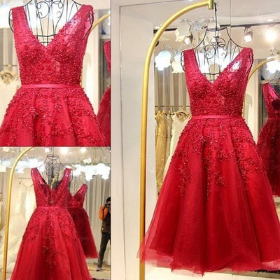 015abe968d6a Short Tulle A Line Red Lace Prom Gown,Elegant Red Lace Homecoming Dress