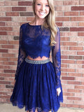 Two Pieces A-line Royal Blue Short Mini Tulle Short Prom Dress with Long Sleeve