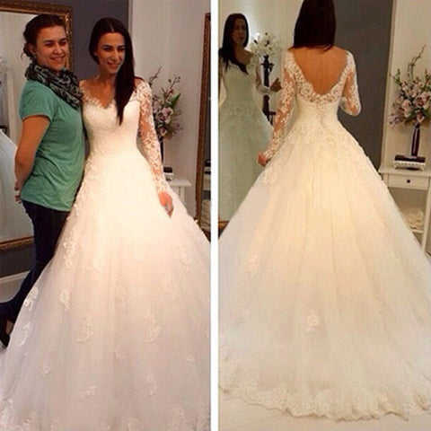 V-Neck A Line Long Sleeve Lace Wedding Dresses,Gorgeous Bridal Gown with Long Sleeves
