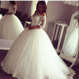 Vintage Long Sleeves Off the Shoulder Long Tulle Ball Gown Wedding Dresses