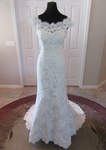 Princess Cap Sleeve Lace Mermaid Elegant Wedding Dress
