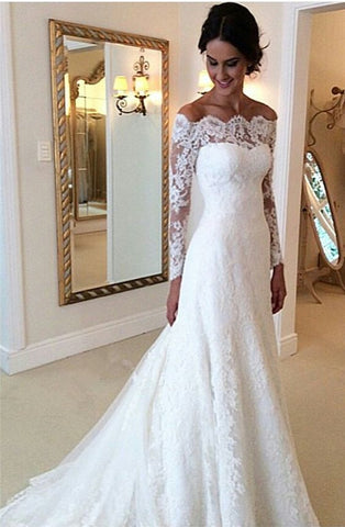 White Off-the-shoulder Lace Long Sleeve Cheap Simple Custom Made Wedding Dress
