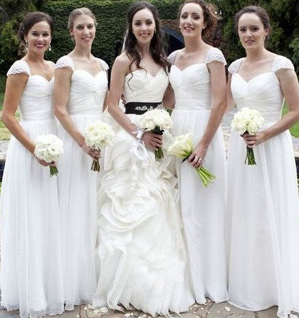 XB10 Bridesmaid Dress with Pearls,Cap Sleeve Long White Bridesmaid Dress
