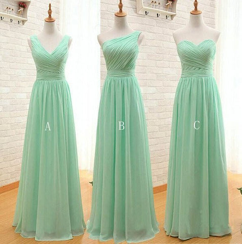 XB11 Mint Green Bridesmaid Dress,Simple Bridesmaid Dress,Chiffon Wedding Party Dress