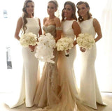 XB17 Long White Satin Bridesmaid Dress,Mermaid Bridesmaid Dress,Mermaid Wedding Party Dress