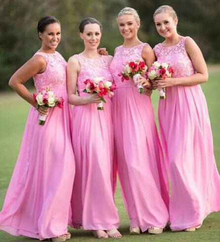XB20 Long Pink Bridesmaid Dress,Lace Brdesmaid Dress,Long Chiffon Wedding Party Dress