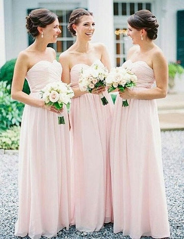 XB23 Simple Bridesmaid Dress,Strapless A-line Pink Bridesmaid Dress,Cheap Bridesmaid Dress
