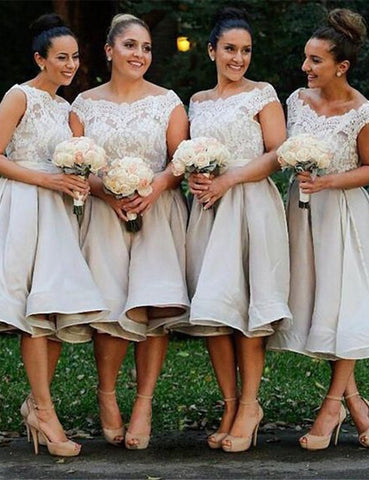 XB25 Light Grey Lace Bridesmaid Dress,Knee-length Short Bridesmaid Dress
