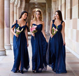 XB33 Navy blue bridesmaid dress,off shoulder bridesmaid dress,long chiffon cheap wedding party dress