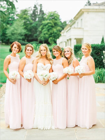 XB3 Long pink pearls bridesmaid dress,a line long chiffon bridesmaid dress with pearls