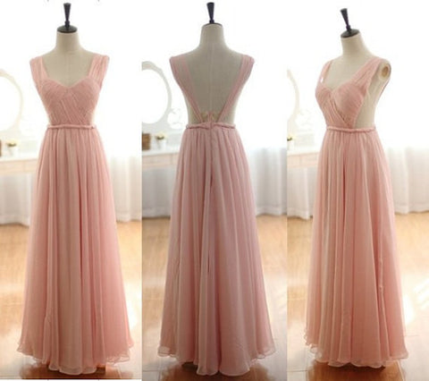 XB44 A line chiffon bridesmaid dress,cheap wedding party dress,pink bridesmaid dress