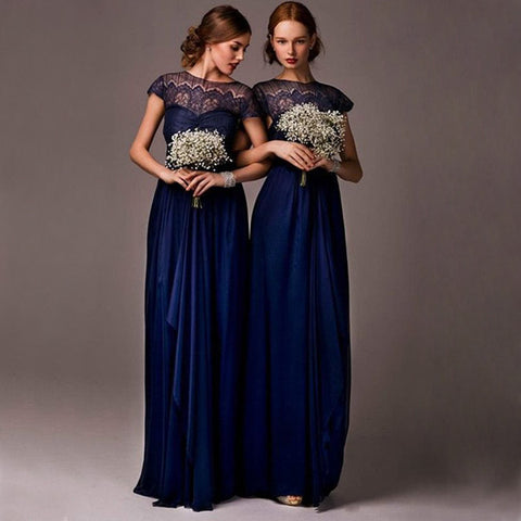 XB44 Navy blue lace bridesmaid dress with sleeves,short sleeves navy blue wedding party dress