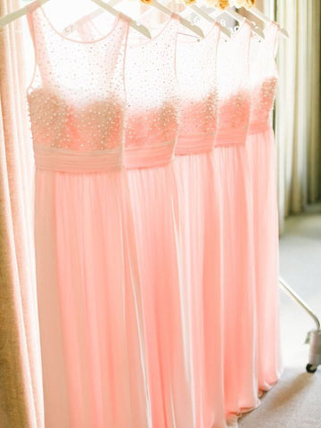 XB4 Pink bridesmaid dress with pearls,chiffon wedding party dress,pink prom dress