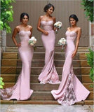 XB7 2017 Lace Bridesmaid Dress,Pink Mermaid Bridesmaid Dress,Lace Mermaid Prom Dress