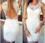 XH16 White short lace homecoming dress,backless short prom dress