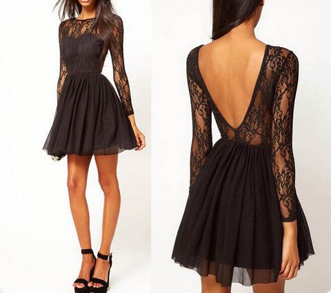XH1 Black lace long sleeve short homecoming dress,sexy deep v back short prom dress