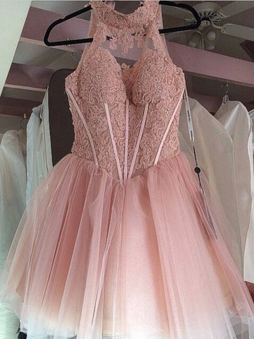 XH21 Backless Short Pink Lace Prom Dresses,Short Pink Ball Gown Lace Homecoming Dresses