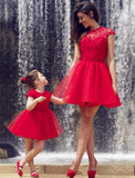 XH22 Short ball gown red tulle lace homecoming dress,red lace short mother and daughter dress