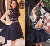 XH23 Black Homecoming Dress,Short Homecoming Dress,Graduation Dress,Backless black short prom dress