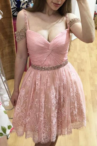XH28 Homecoming Dresses,Lace Homecoming Gowns,Short Pink Lace Prom Gown