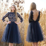XH2 Long sleeve lace navy blue short homecoming dress,deep v back short tulle prom dress