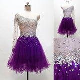 XH41 One shoulder long sleeve purple beading homecoming dress