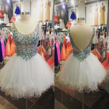 XH53 Rhinestone Beaded Sparkly Homecoming Dresses,White Tulle Short Prom Dresses