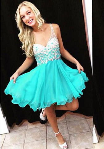 XH60 one shoulder turquoise beading homecoming dresses,cocktail dress,short beading prom dress