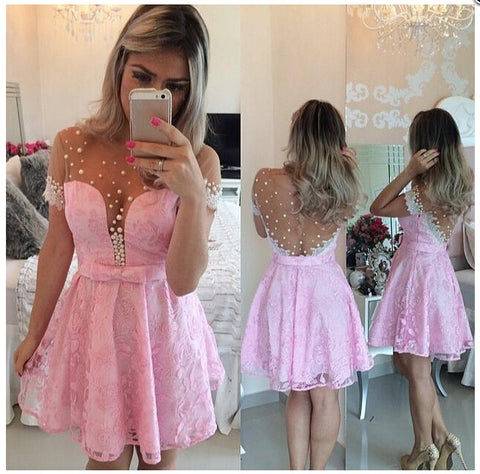 XH61 Pink Short Lace Homecoming Dress,Pink Lace Short Prom Dress with Pearls,Wedding Party Dress