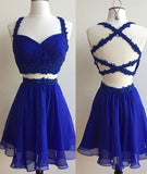 XH66 2 Pieces Navy Blue Short Chiffon Homecoming Dresses,Beaded Women Party Dresses