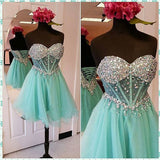 XH67 Mint Green Top Beading Tulle Homecoming Dress,Short Prom Dress Party Gown