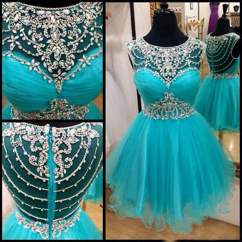 XH71 A-line Illusion Neck Tulle with Beaded Homecoming Dresses