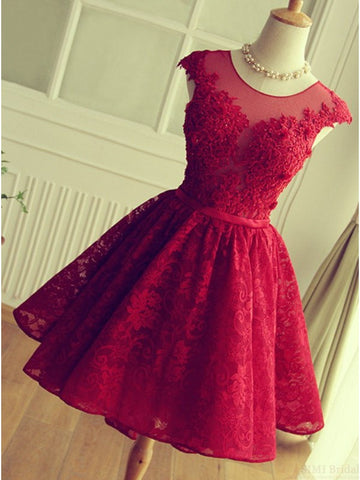 XH72 Cute Red Knee-length Red Short Lace Christmas Party Dresses
