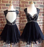 XH74 A-line black backless short prom dress,homecoming dress